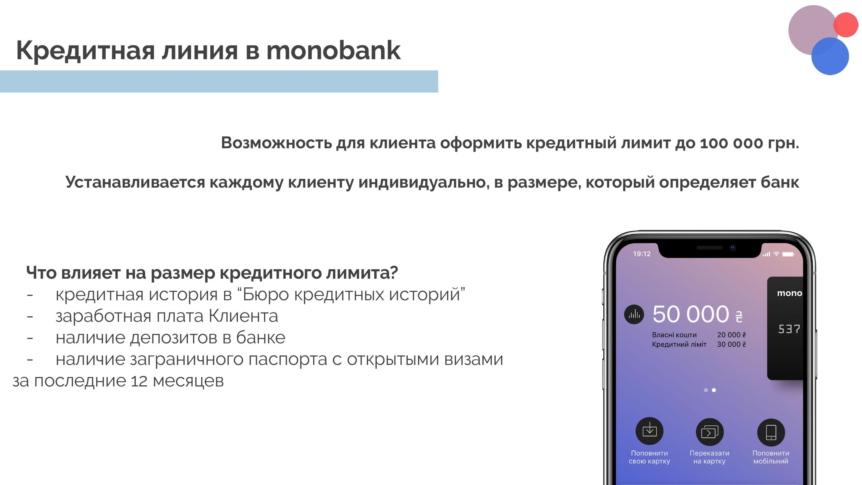 Кредитная линия Монобанк